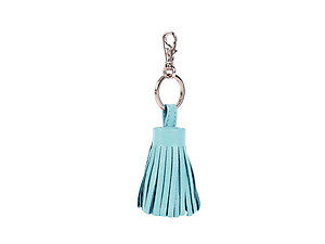 Aqua Tassel Keychain Made With 100% Genuine Leather