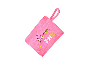 Hot Pink Fabric Wet Swim Suit Pool/Beach Bag with Wrist Strap