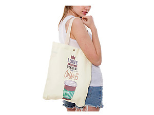 Coffee Multi-Purpose 100% Cotton Printed Fashion Canvas Tote Bag