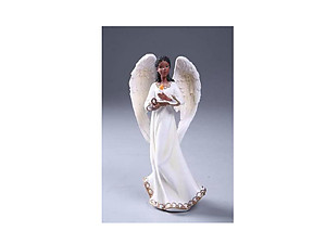 Resin Ebony Angel Holding Candle