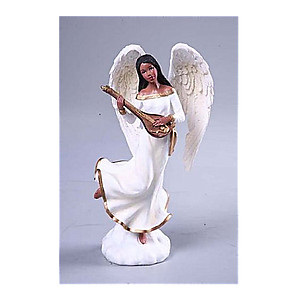 Resin Ebony Angel Playing Harp Christmas Holiday Table Piece