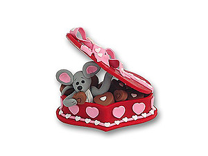 Merry Mouse in Candy Box Figurine for Valentine's Day