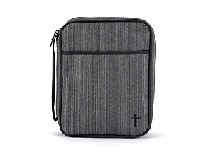 Black & Silver Micro-Stripe Bible Cover With Embroidered Cross