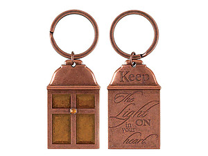 Keep the Light On In Your Heart Copper Lantern Amber Keychain