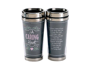 16 Oz. Stainless Steel Insulated Travel Mug with Lid  ~ A Caring Heart