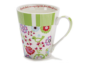 Green Sing To The Lord Bone China Mug with Verse Inside Rim