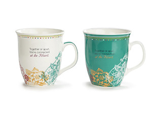 18 oz Mom & Daughter Connected by Heart 1 Peter 1:22 New Bone China Mugs