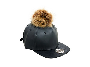 Navy Faux Leather Pom Pom Snapback Baseball Hat Cap w/ Watch Strap Closure