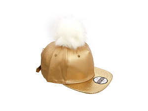 Gold Faux Leather Pom Pom Snapback Baseball Hat Cap w/ Watch Strap Closure