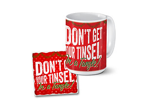 Tinsel In A Tangle Mug & Coaster Combo Set