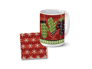 Up North Mittens and Snowflakes Mug & Coaster Combo Set