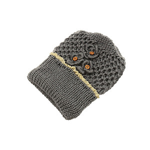 Grey Crochet Toboggan Hat with Lace Trim