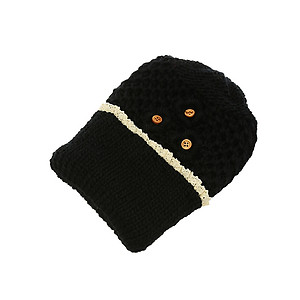 Black Crochet Toboggan Hat with Lace Trim