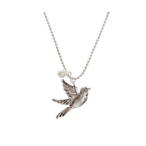 Burnished Silvertone Bird & Faux Pearl Pendant Necklace