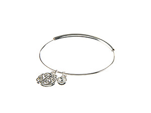 Silvertone Adjustable Bangle Initial
