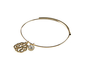 Goldtone Adjustable Bangle Initial