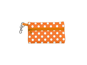 Neoprene Zippered Student ID Case with Key Ring (Orange with White)