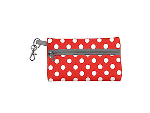 Neoprene Zippered Student ID Case with Key Ring (Red and Gray)