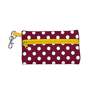 Neoprene Zippered Student ID Case with Key Ring (Maroon and Yellow)