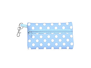 Neoprene Zippered Student ID Case with Key Ring (Light Blue with White)