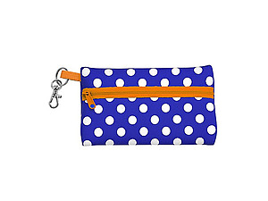 Neoprene Zippered Student ID Case with Key Ring (Royal Blue and Orange)