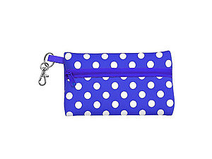 Neoprene Zippered Student ID Case with Key Ring (Royal Blue and White)