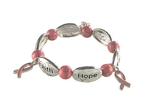 Pink Breast Cancer Awareness Ribbon Charms Stretch Bracelet