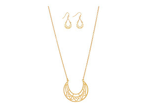 Goldtone Tribal Print Crescent Pendant Necklace Set