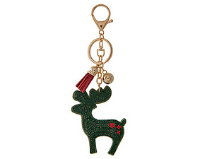Green Reindeer Tassel Bling Faux Suede Stuffed Pillow Key Chain Handbag Charm
