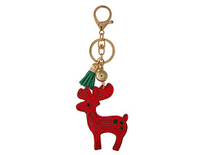 Red Reindeer Tassel Bling Faux Suede Stuffed Pillow Key Chain Handbag Charm