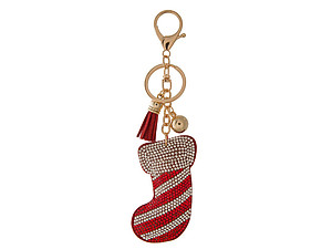 Stocking Tassel Bling Faux Suede Stuffed Pillow Key Chain Handbag Charm
