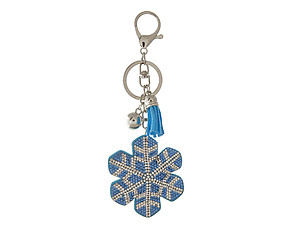 Snowflake Tassel Bling Faux Suede Stuffed Pillow Key Chain Handbag Charm