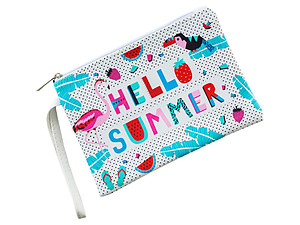 Hello Summer Flamingo Faux Leather Print Carry All Pouch Bag Accessory w/ Wrist Strap