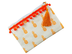 Canvas Print Carry All Pouch Bag Accessory w/ Tassel