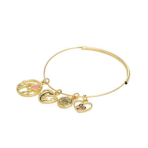 Goldtone Mom & Daughter Heart Charms Bangle Bracelet