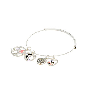 Silvertone Mom & Daughter Heart Charms Bangle Bracelet