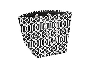 Black Canvas Trellis Jumbo Man-made Beach Tote / Hamper Straw Tote