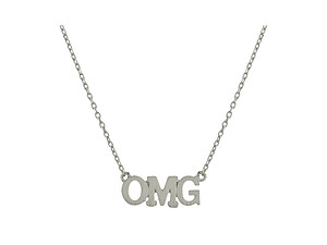 Dainty Metal OMG Pendant Necklace
