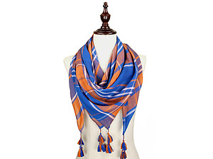 Royal Blue and Orange Lightweight Plaid Large Square Scarf with Tassels