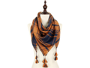Navy Blue and Orange Lightweight Plaid Large Square Scarf with Tassels