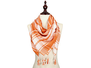 Orange and White Lightweight Plaid Large Square Scarf with Tassels