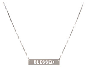 Silvertone Blessed Dainty Bar Pendant Necklace