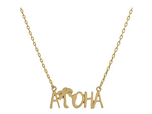 Dainty Metal ALOHA Pendant Necklace