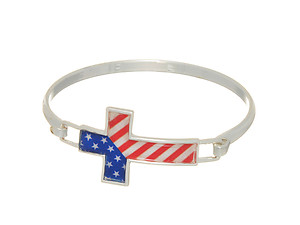 Silvertone Flag Bangle Bracelet With Front Latch Closure