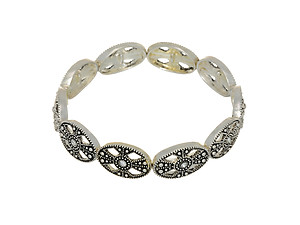 Silvertone Antique Inspired Stretch Bracelet