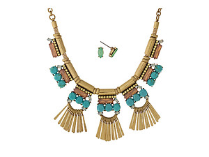 Turquoise & Pink Stone Goldtone Metal Fringe Necklace with Matching Earrings