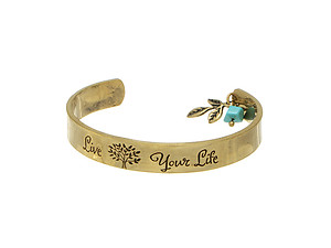 Worn Goldtone Live Your Life Bracelet