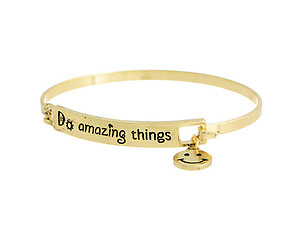 Goldtone Do Amazing Things Hook Style Bangle Bracelet