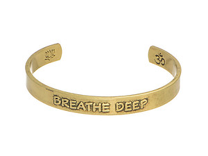Goldtone Breathe Deep Cuff Bracelet