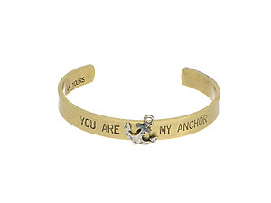 Goldtone You Are My Anchor Cuff Bracelet